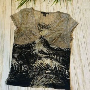 Kenneth Cole sheer large feather print top black